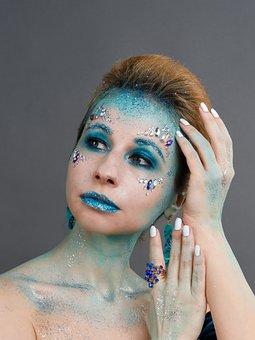 Face Art, Tinsel, Rhinestones, Glamour, Sparkle