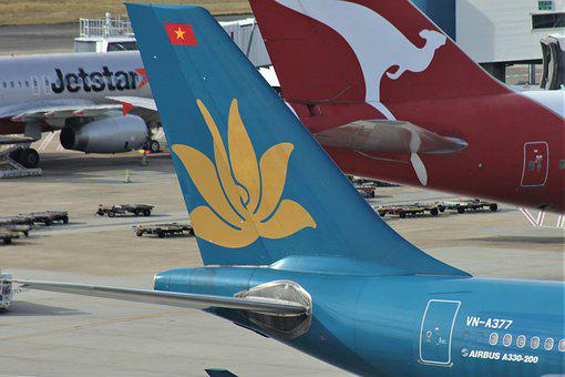 Vietnam, Airlines, Decals, Blue, Yellow, Tail, Wing