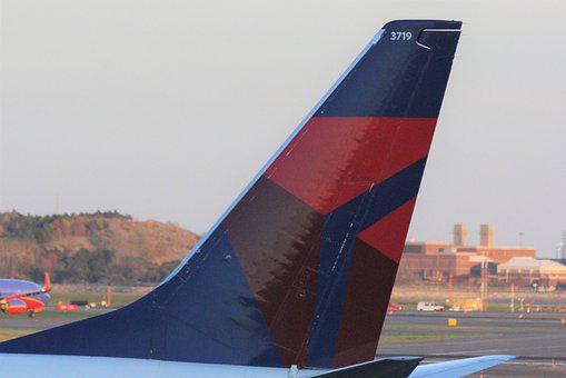 Airline, Decals, Delta, Blue, Red, Tail, Wing, Travel
