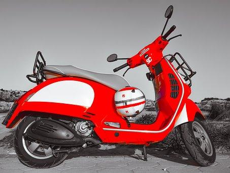 Vespa, Bike, Motorbike, Red, Scooter, Vehicle