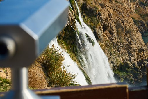 Binoculars, Waterfall, Landscape, Water