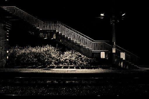 Wharf, Train, Night, Sncb, Belgium, Sclaigneaux