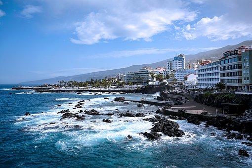 Puerto Cruz, Tenerife, Bay, Houses, Promenade, Atlantic