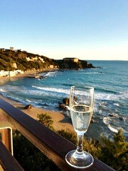 Sea, Wine, Holiday, Beach, Glass, Sparkling Wine, Sky