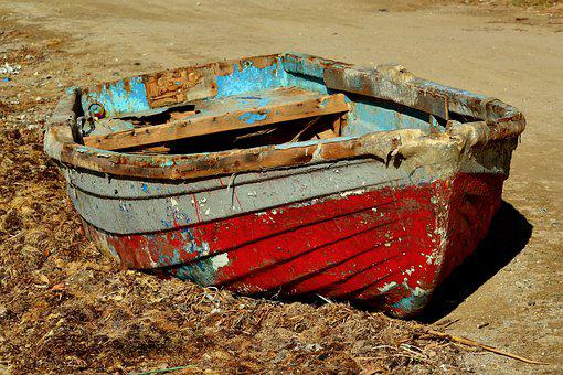 Boat, Abandoned, Seaweeds, Old, Broken, Alone, Sea