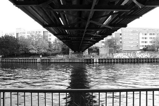Bridge, City, River, Water, Black And White, Old