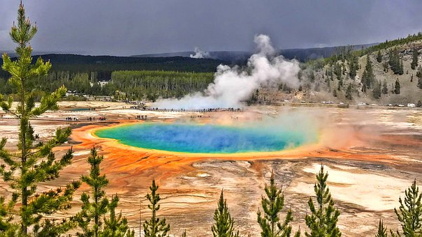 Colors, Geothermal, Wyoming, Steam, Hot, Water, Nature