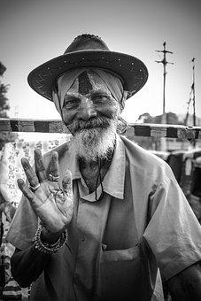 Oldman, Indian, Saint, Godman, Culture, Face, Eyes
