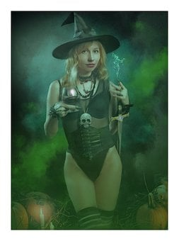 Witch, Fantasy, Magic, Halloween, Candle, Pumpkins