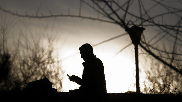 Silhouette, Man, Person, Taking, Phone, Hand, Going
