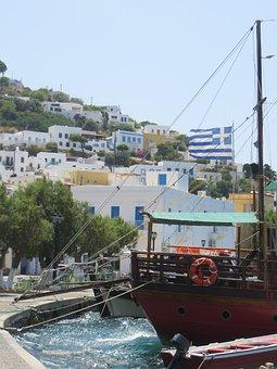 Greek, Landscape, Island, Flag, Boat, Ship, House
