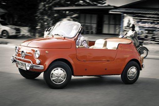 Fiat, Abarth, 500, Italian, Miniature, Red, Oldtimer