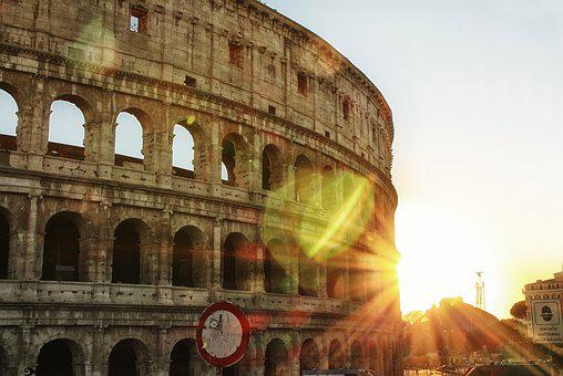 Rome, Colosseum, Italy, Sun, Places Of Interest