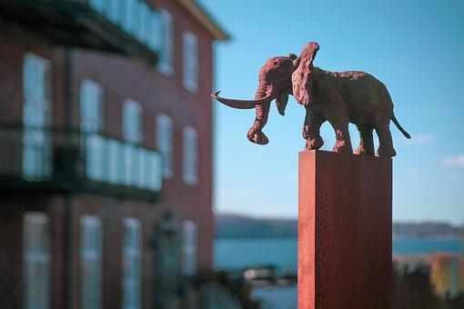 Sculpture, Elephant, Statue, Residential Area