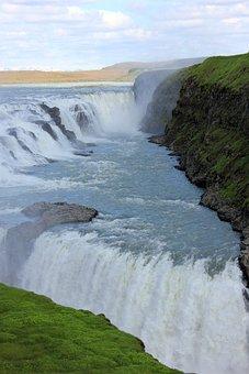 Water, Sky, Roche, Cascade, Iceland