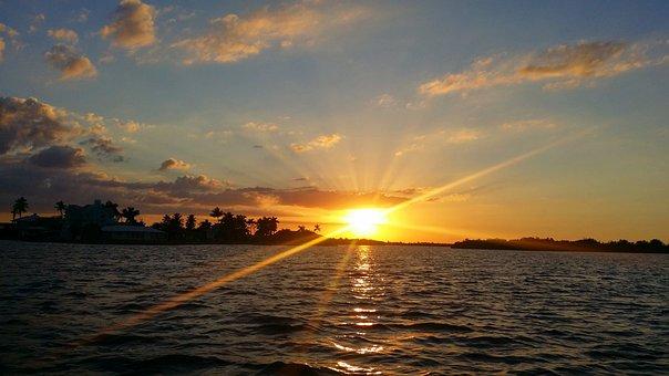 Florida, Sunset, Fort Myers, Ocean, Sky, Landscape