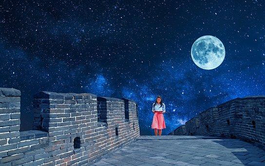 Night, Sky, Space, Galaxy, Star, Universe, Stars, Moon