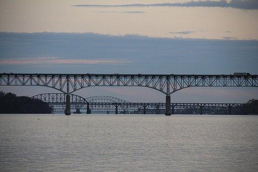Bridge, Water, River, City, Architecture, Skyline, Usa