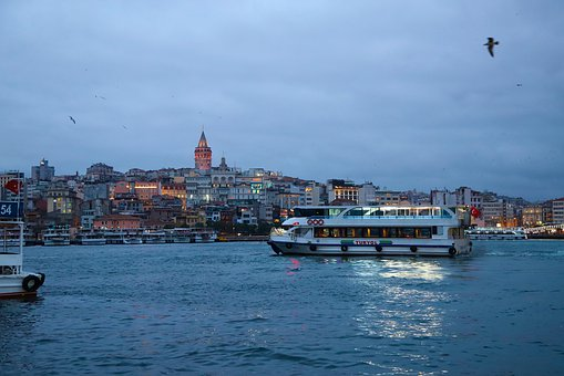 Ship, V, Istanbul, Turkey, Bridge, Galata Tower