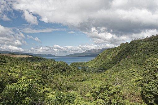 New Zealand, Lake Tarawera, Lake, Water, Sky, Clouds