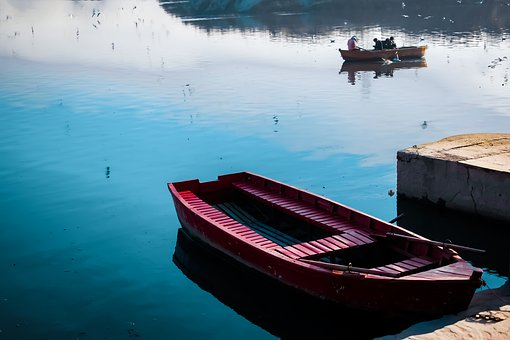 Boat, River, Water, Yamuna Ghat, Nature