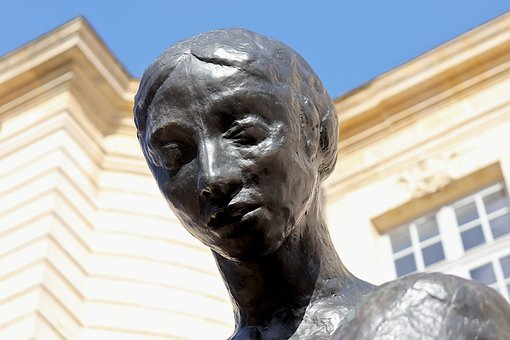 Sculpture, Statue, Bronze Black, Young Woman, Beautiful