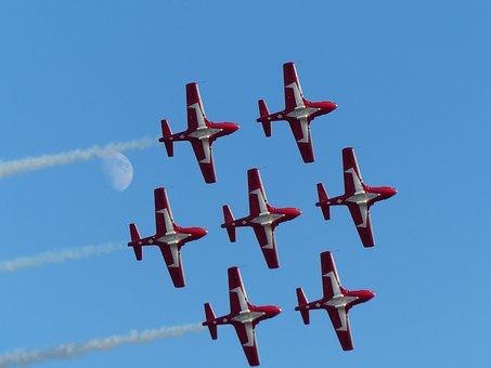 Snowbirds, Aerobatic, Formation, Moon, Airshow, Canada