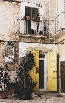 Door, Bari, Yellow, Window, Nature, Italy, Architecture