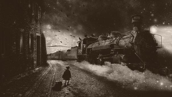 Fantasy, Railway Station, At That Time, Train, Boy