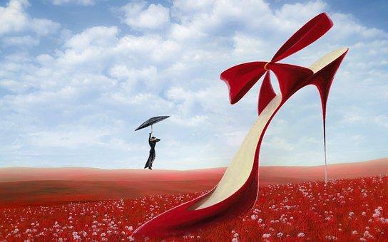 Fantasy, Meadow, Red, Clouds, High Heels, Flowers