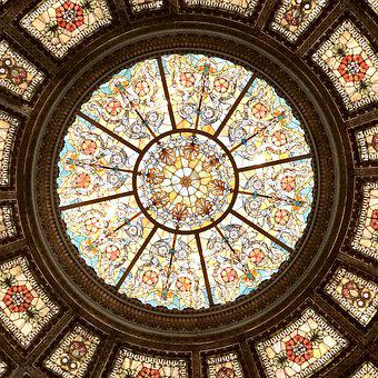 Chicago, Cultural Center, Stained Glass, Ceiling, Dome