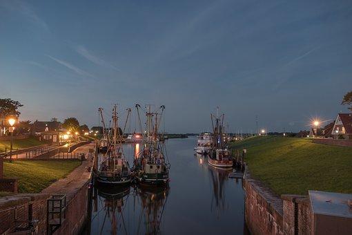Greetsiel, Port, Fishing Vessel, Evening, Shrimp