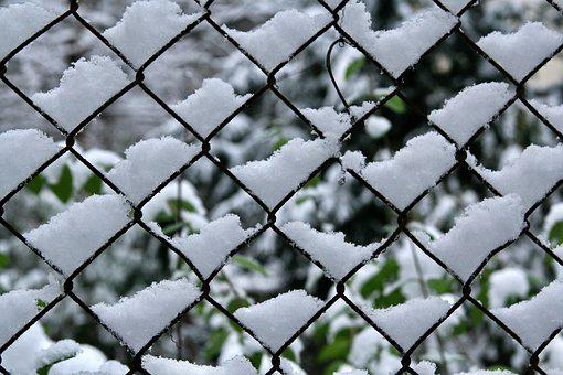 Snow, Fence, Wire Mesh Fence, Snowfall