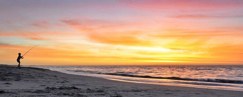 Sunset, Fishing, Beach, Fisherman, Water