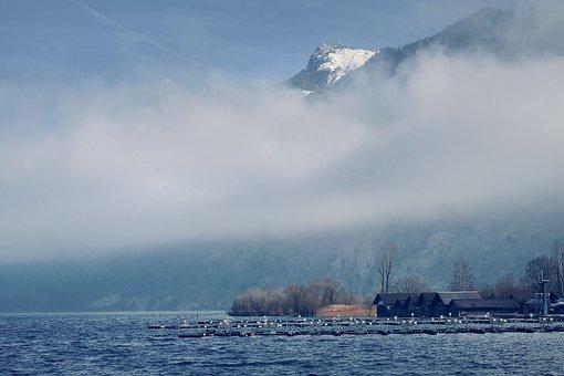 Nature, Landscape, Lake, Mountains, Fog, Fog Layer
