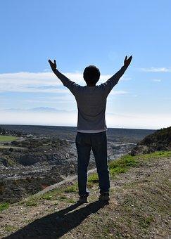 Man, Silhouette, Mountain Top, Praying, Freedom