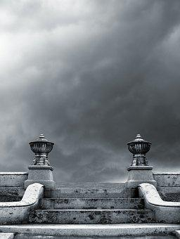 Clouds, Gloom, Stairs, Steps, Staircase, Architecture