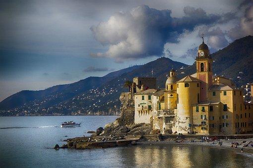 Camogli, Liguria, Water, Landscape, Recco, Italy, Beach