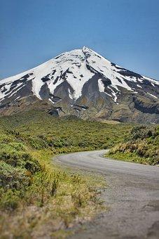 Taranaki, Egmont, Mountain, Peak, Clouds, Sky, Grass