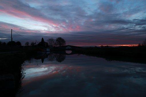 Sunset, Canal Du Midi, France, Nature