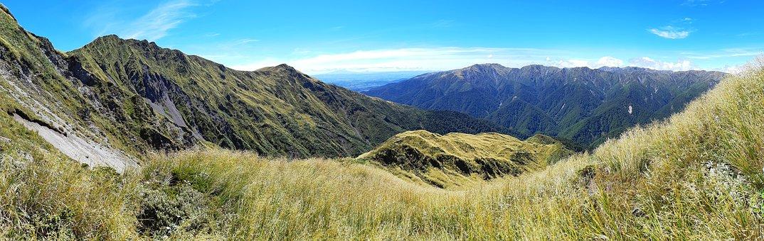 Mountain, Peak, Clouds, Sky, Grass, Rugged, Beautiful