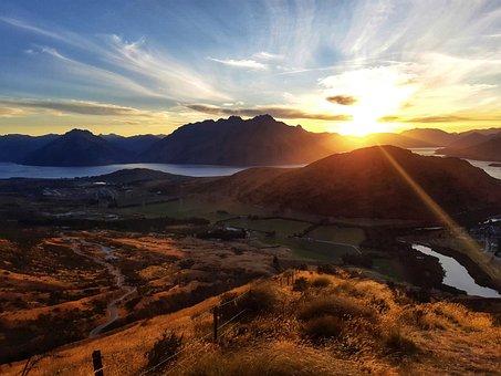 Queenstown, Remarkables, Mountains, Peaks, Sunset, Sun