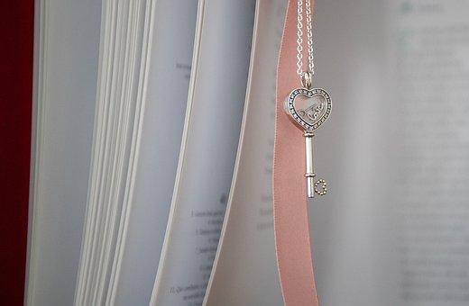 Book, Heart, Ribbon, Pendant