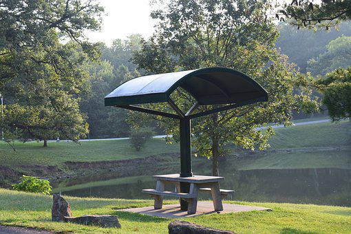 Picnic Table, Picnic Shelter, Pond, Landscape, Water