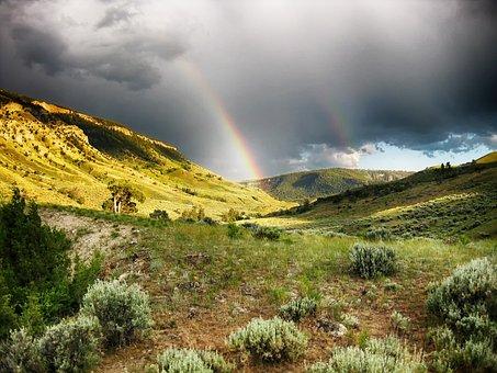 Rainbow, Storm Clouds, Sagebrush