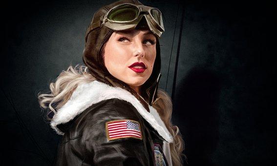 Retro, Lёtchitsa, Pilot, Girl, Navigator, Shape