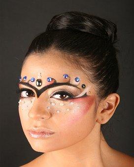 Women, Makeup, Rhinestones, Beauty, Model, Portrait