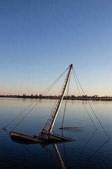 Ship, Nile, Sunk, Sunset, Boat, Rust