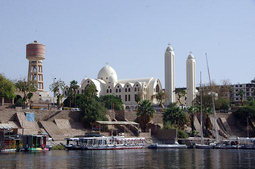 Egypt, Aswan, Docks, Cathedral, Coptic, Ships, Nile
