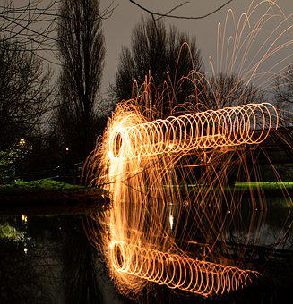 Steel Wool, Fire Circle, Burning, Sparks